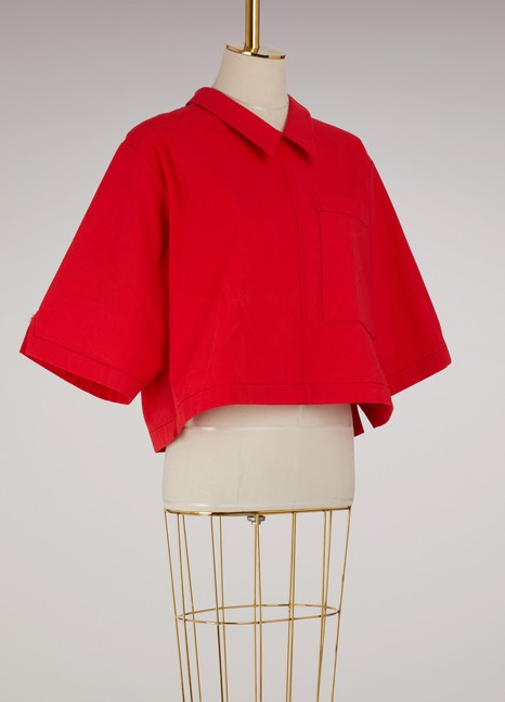 Thom Browne Back-buttoned polo blouse