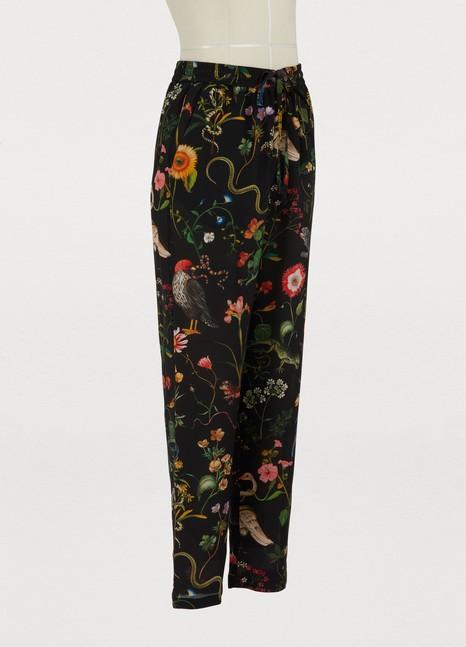 Red ValentinoFlora fauna printed crepe trousers