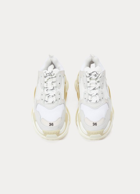 Balenciaga Triple S Clear Sole Logo-Embroidered Leather, Nubuck And Mesh Sneakers In White