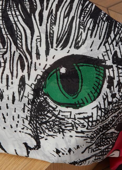 GucciMystic Cat print modal silk shawl