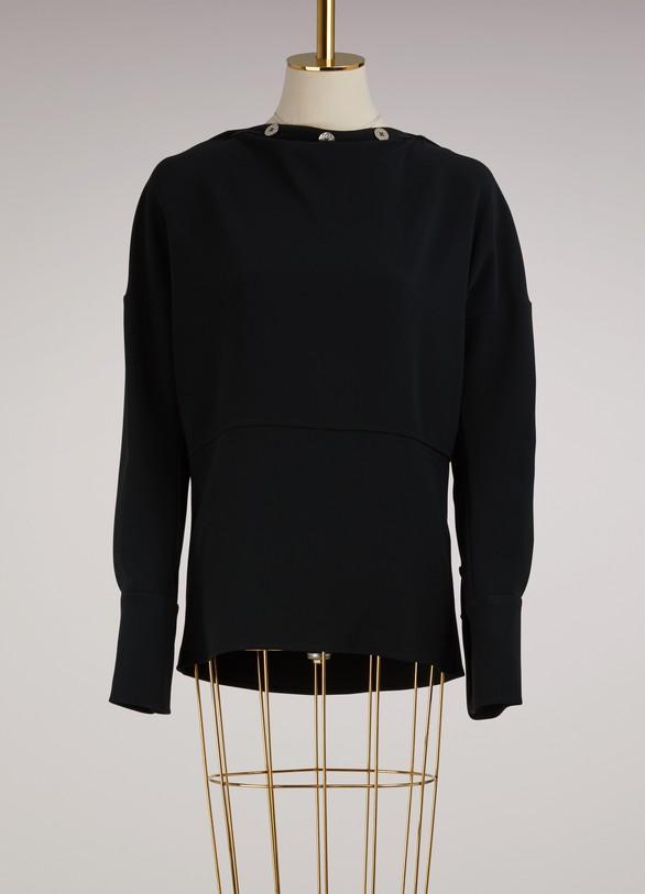 Victoria BeckhamButton-Collar Long-Sleeved Top
