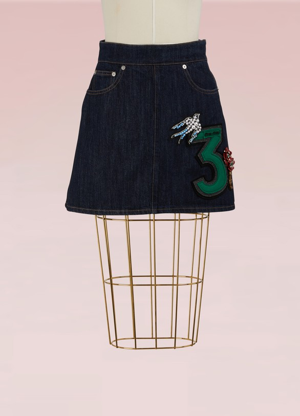 1ac59762903 Miu Miu Denim Skirt with Embroidered Number