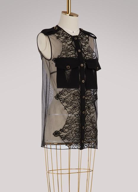 GivenchyBlouse à manches courtes avec inserts de dentelle